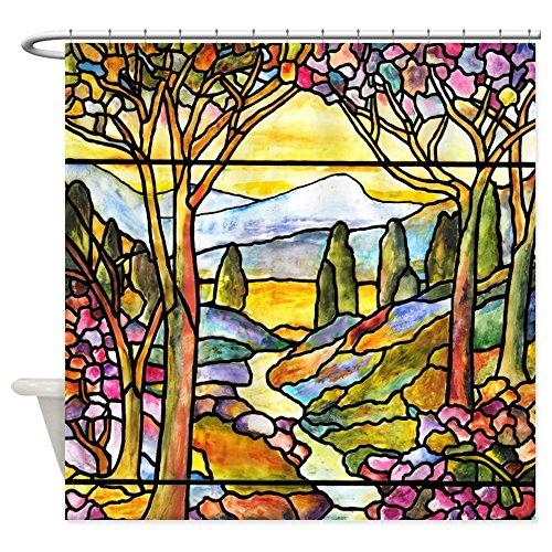 (CafePress Tiffany Landscape Window Decorative Fabric Shower Curtain (69