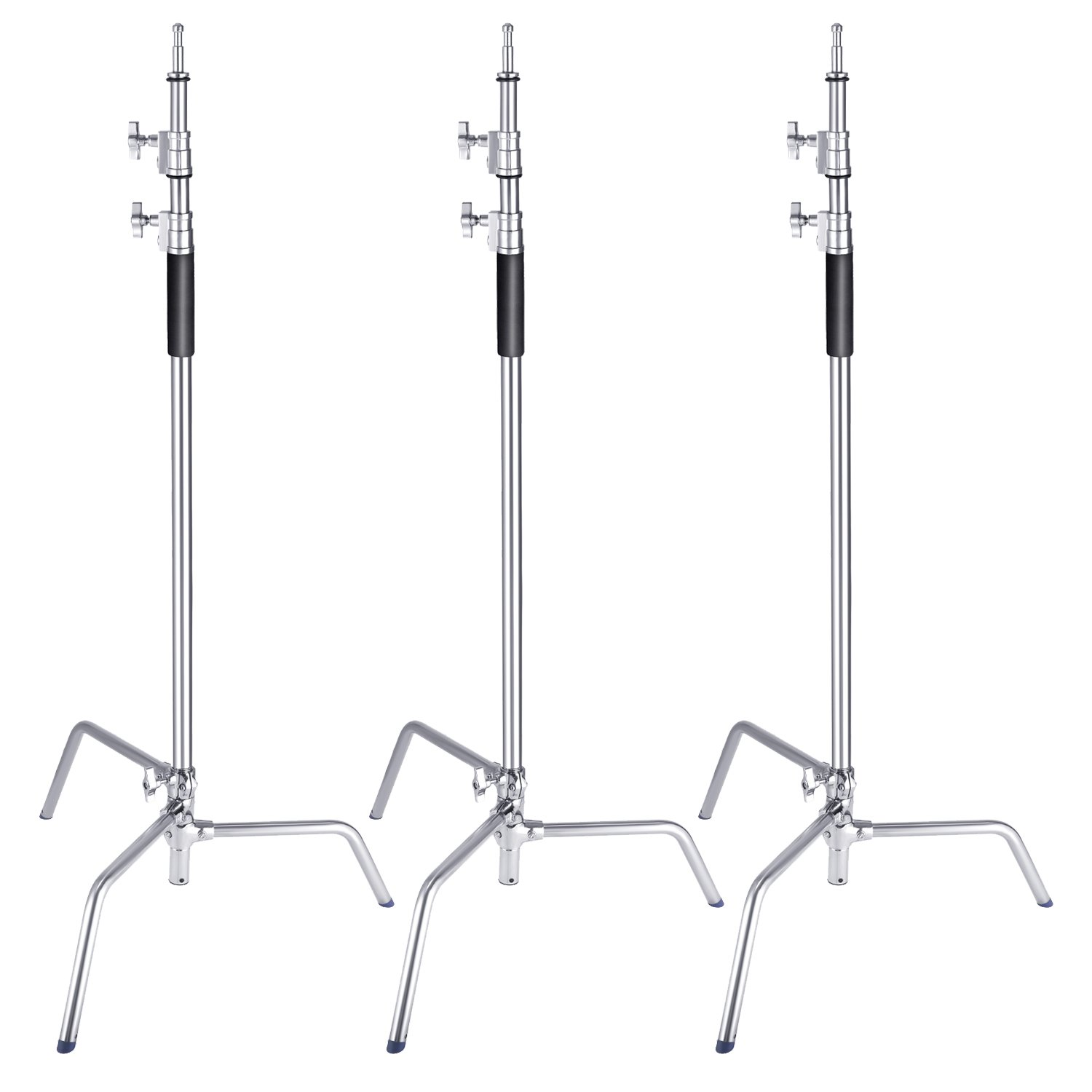 Neewer 3 Packs Stainless Steel Heavy Duty C-Stand, 5-10 feet/1.5-3 Meters Adjustable Photographic Sturdy Tripod for Reflectors, Softboxes, Monolights, Umbrellas by Neewer