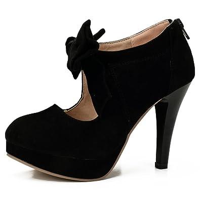 5131bc1b100 fereshte Women s Girls  Platform High Heels Wedding Pumps Shoes with Bowknot  Black EU31