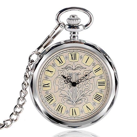 Reloj de bolsillo de lujo, reloj de bolsillo abierto de plata irregular para hombres y