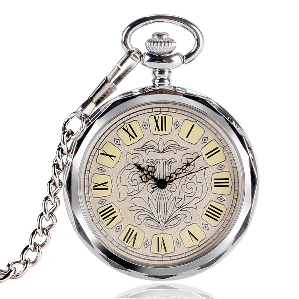 Luxury Pocket Watch, Irregular Silver Open Face Pocket Watch for Men Women, Mechancial Hand Wind Pocket Watch Gift