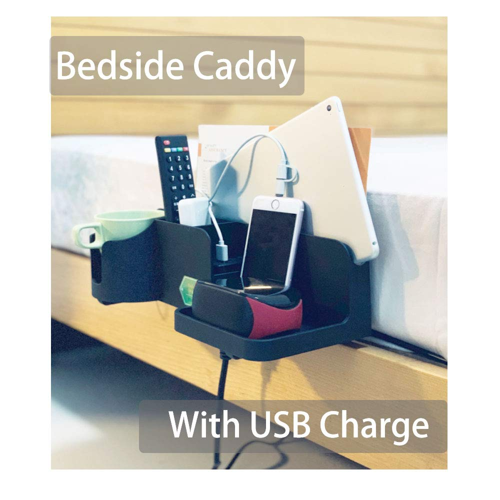 Bedside Caddy Bed Side Storage Organizer Cellphone Tablet Book Remote Glasses Black with Dual USB Charger Support Charging (With USB Charger and Power Cord) by Binoster