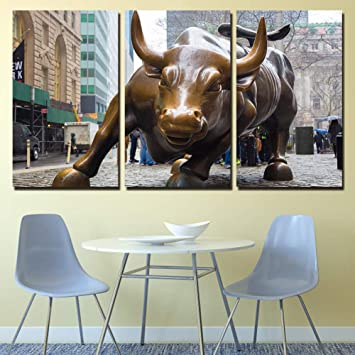 Peachy Isaac England Hd Imprimer 3 Piece Toile Art Wall Street Bull Market New York Peinture Pour Salon Posters Et Impressions L Home Interior And Landscaping Ologienasavecom