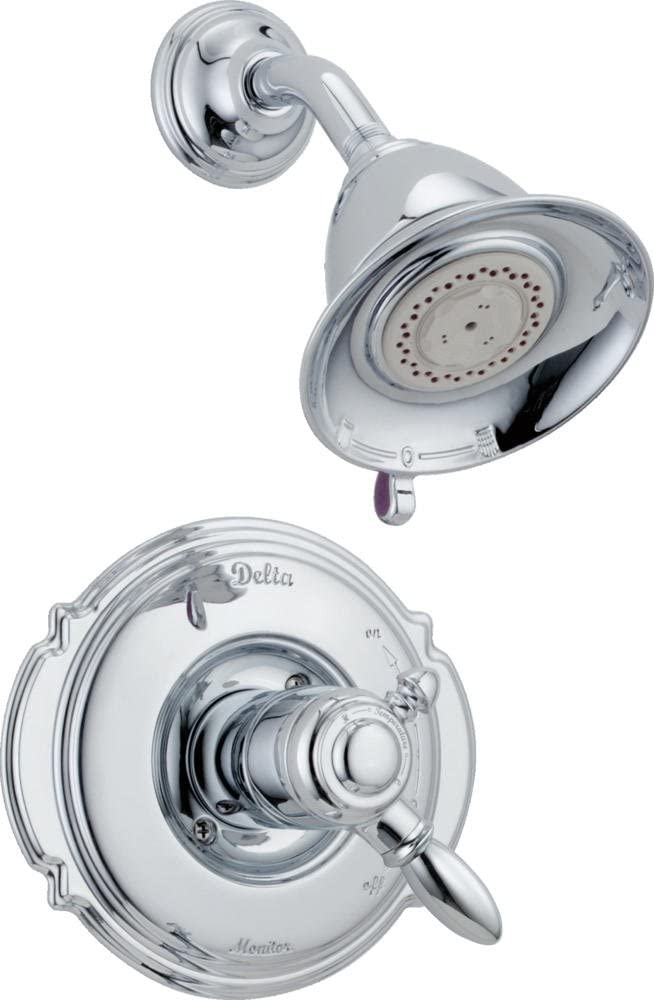 Delta Faucet Victorian 17 Series Dual-Function Shower Trim Kit with 2-Spray Touch-Clean Shower Head, Chrome T17255 (Valve Not Included)