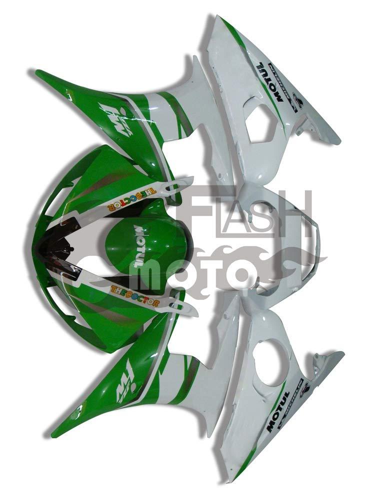 FlashMoto yamaha ヤマハ YZF-600 R6 2003 2004用フェアリング 塗装済 オートバイ用射出成型ABS樹脂ボディワークのフェアリングキットセット (グリーン,ホワイト)   B07LF1WPJZ