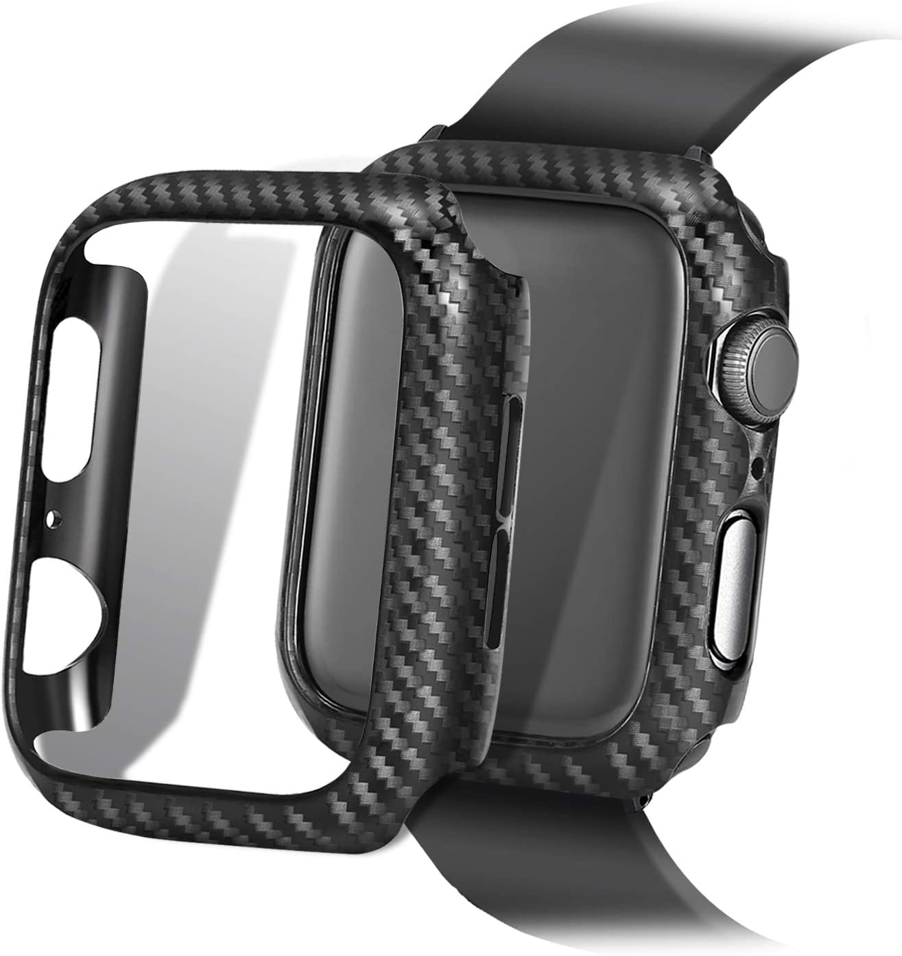 Compatible with Apple Watch SE Series 6 5 4 44mm 40mm Case Super Thin PC Plating Protective Bumper Scratch Resistant Protector Case for Apple Watch 44mm 40mm (Carbon brazing, 40mm)