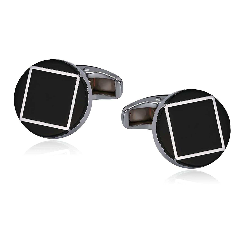 Daesar Men's Stainless Steel Cuff Links Round Shape Square Pattern Silver Black Cufflinks