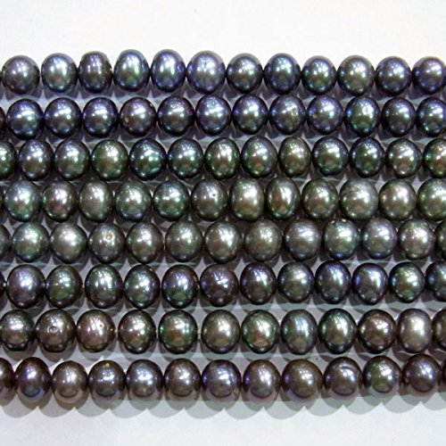 TheTasteJewelry 9-10mm Round Black Freshwater Cultured Pearl Dyed 15 inches 38cm Jewelry Making Necklace Healing (10mm Black Genuine Pearl Necklace)