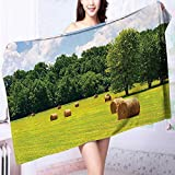 PRUNUS Quick-Dry Bath Towel Farmland After Harvest Peaceful Terrain Remote Rural Country Plantation Seasonal Image Ideal for Everyday use