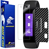 ArmorSuit Microsoft Band Black Carbon Fiber Skin Back Protector Film + Anti-Bubble HD Clear Screen Protector Compatible with Microsoft Band