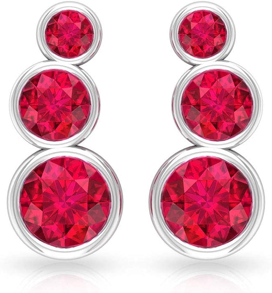 Puños de oreja de rubí certificado SGL de 1,08 ct, juego de bisel de piedra preciosa escaladores, pendientes apilables de cartílago, pendientes de boda de dama de honor, tornillo hacia atrás