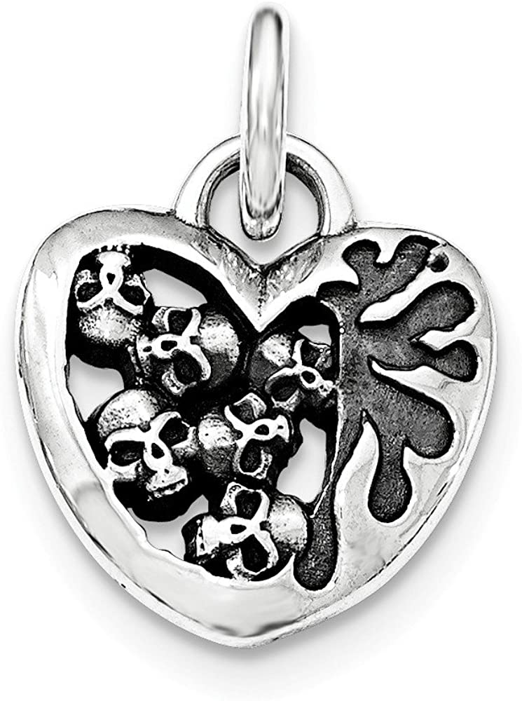 FB Jewels Solid 925 Sterling Silver Antiqued Heart Skull Pendant