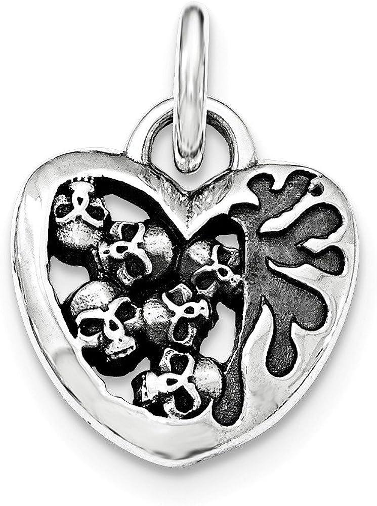 .925 Sterling Silver Antiqued Heart Skull Pendant