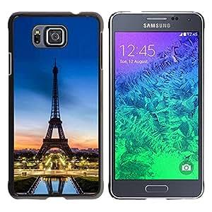 YiPhone /// Prima de resorte delgada de la cubierta del caso de Shell Armor - Tour D'Eifel Tower Sunset France - Samsung GALAXY ALPHA G850