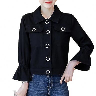 Huiwa Womens Denim Jacket Loose Solid Short Coat Flare Sleeve Button Pockets Black S