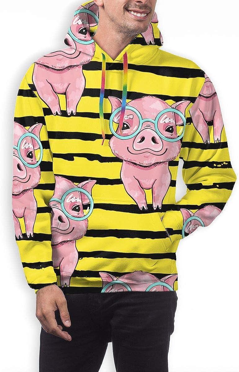 Mens Hoodie Cute Pink Pig On Yellow Striped Sweate Sweatshirt Mens Casual Hoodie Casual Top Hooded