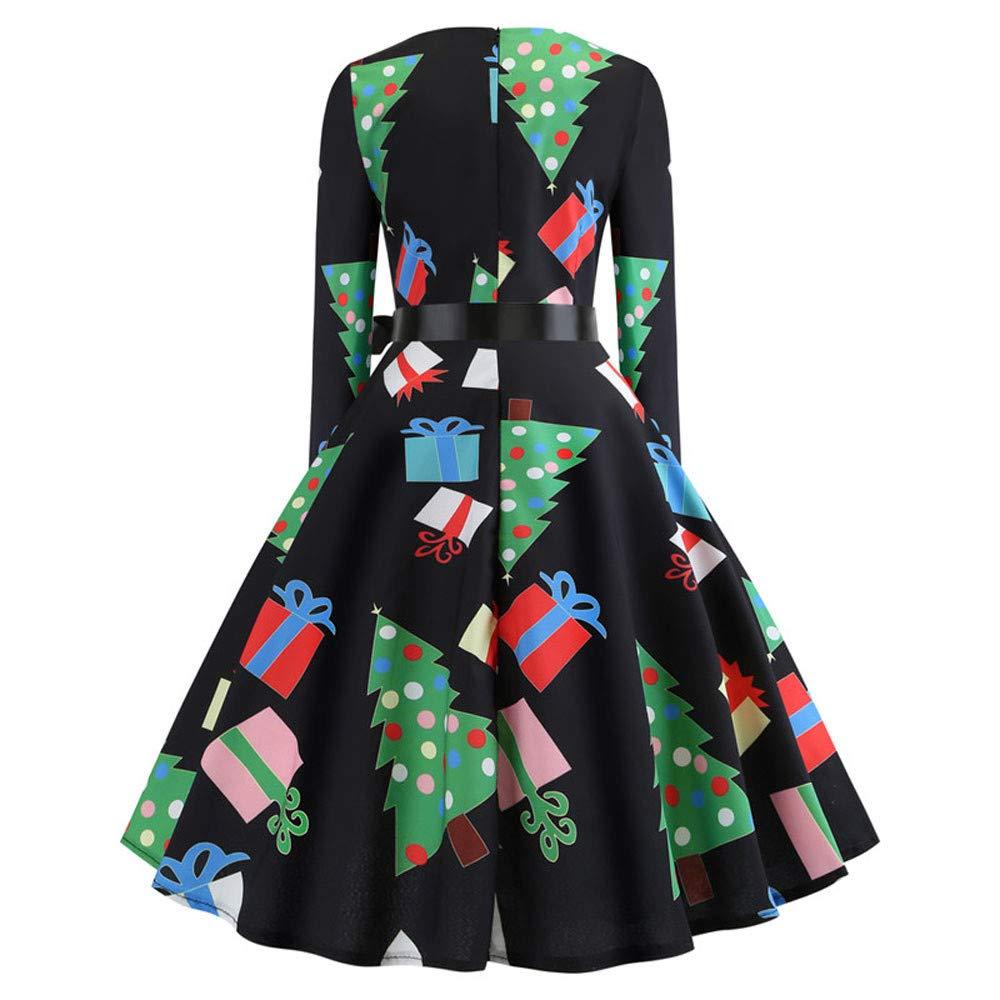 Women Christmas Dresses Evening Dresses Girls Vintage Print Party Swing Dress