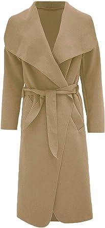 Frauen Hina Fashion Italienisch Mantel Damen Langarm Top Jacken Wasserfall Belted dorxCeBW