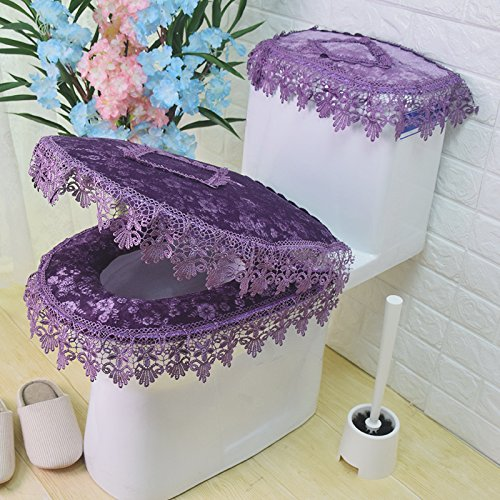 MKSFY Toilet Seat Cover Continental Lace Zipper Toilet Cover Universal Waterproof 3-Piece, Purple