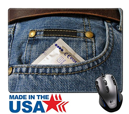 "MSD Natural Rubber Mouse Pad/Mat with Stitched Edges 9.8"" x 7.9"" IMAGE ID: 965774 Condom in the front pocket of a blue jean (Brands Condom)"