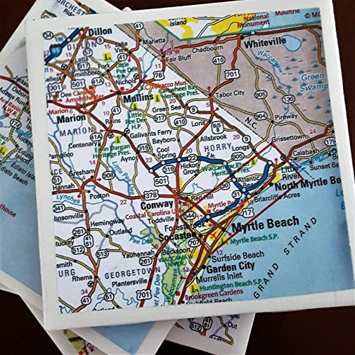 South Carolina Road Map Coasters, Drink Coasters, Including Myrtle Beach and Charleston, Set of 4