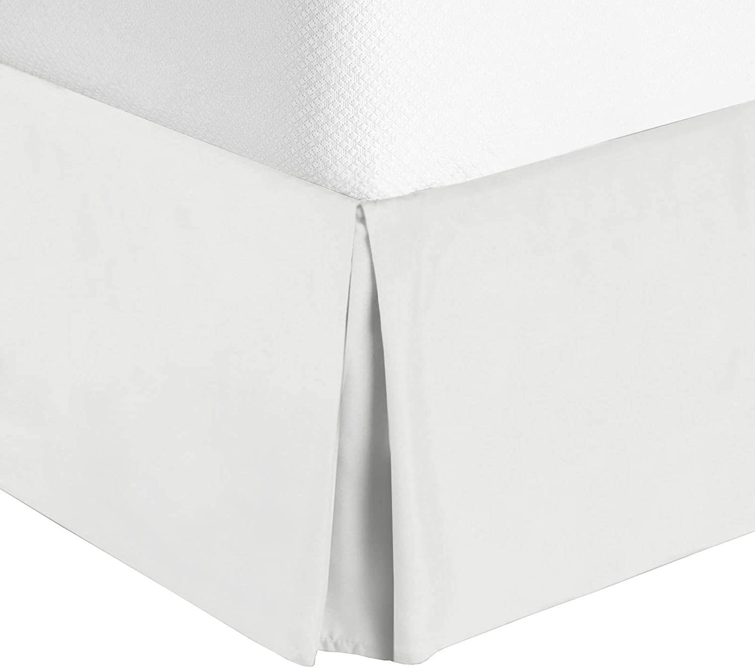 Cruiz Linen Italian Finish Egyptian Cotton Tailored Split Corner Bed Skirt with 16-inch Drop Length - Queen Size (60 x 80) Color White (Solid Style) Made from 550 Thread Count