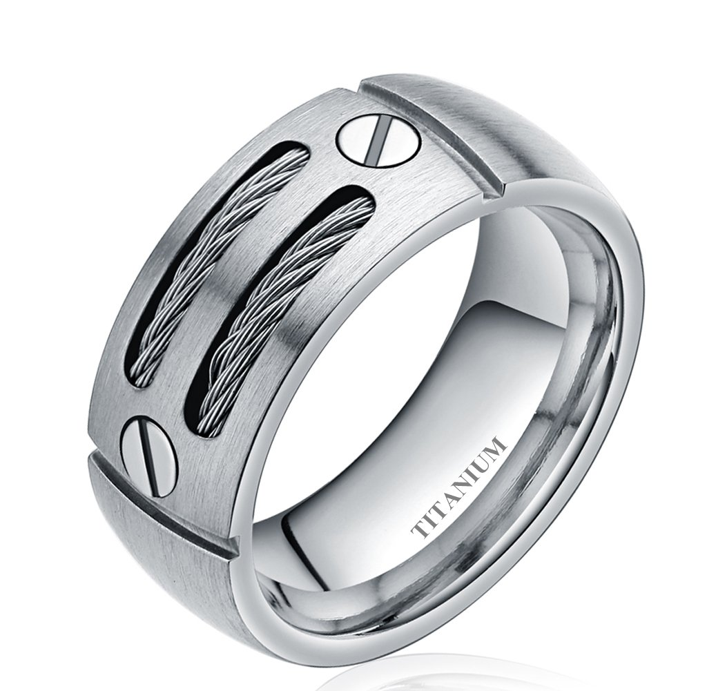 8mm Men\'s Silver/black Cable Inlay Titanium Ring Wedding Band Screw ...
