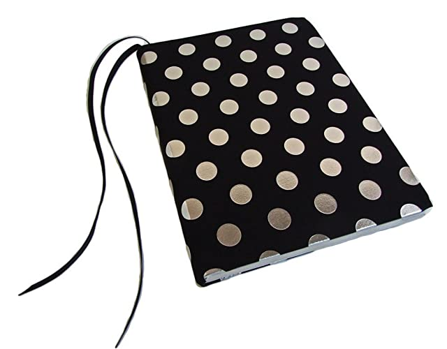 Fabric Composition Notebook Cover In BLACK With SILVER