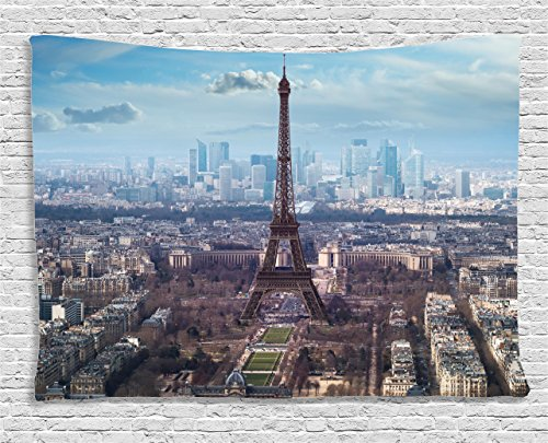 Ambesonne Eiffel Tower Tapestry, Aerial View of Eiffel Tower Clear Day Boulevard Busy Town Park Skyscrape, Wide Wall Hanging for Bedroom Living Room Dorm, 60