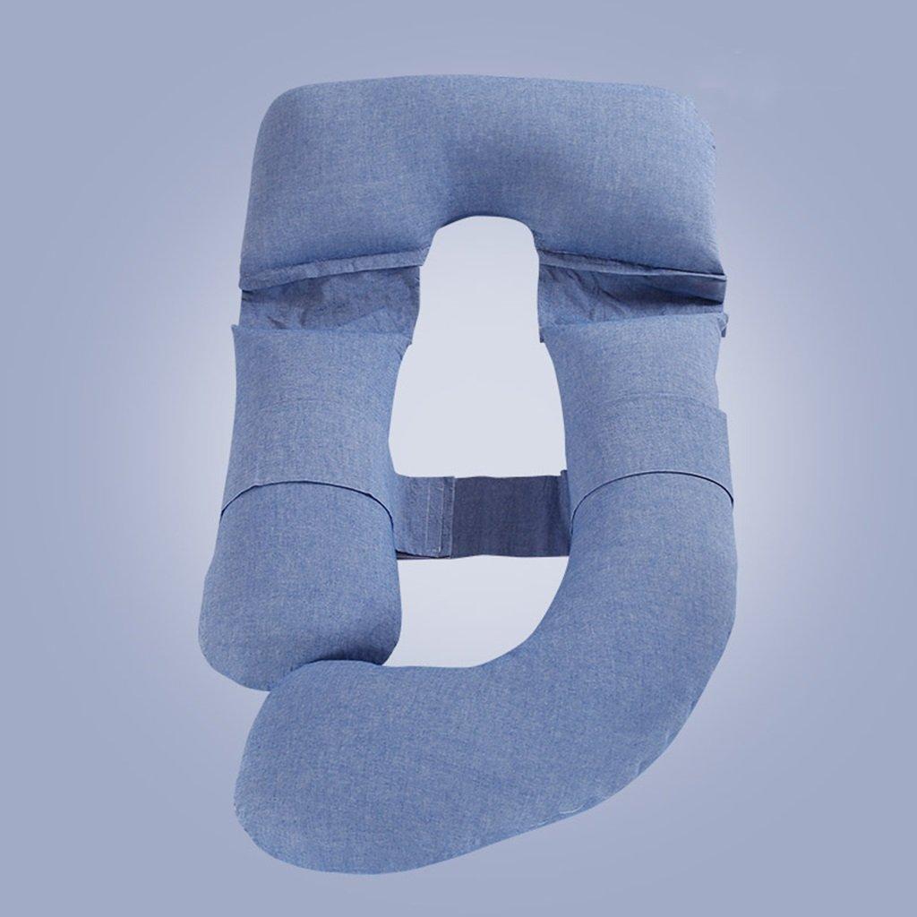 Ai Xin Shop Ganzkörper-Schwangerschaft-Kissen - U-Förmige Hypoallergen Mutterschaft Unterstützung Kissen für Schwangere und Pflege Frauen (Farbe : Blau)
