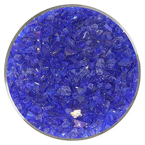 Iridescent Spectrum Stained Glass (Dark Blue Iridescent Fusible Glass Coarse Frit - 96COE - 4oz - Made from System 96 Glass)