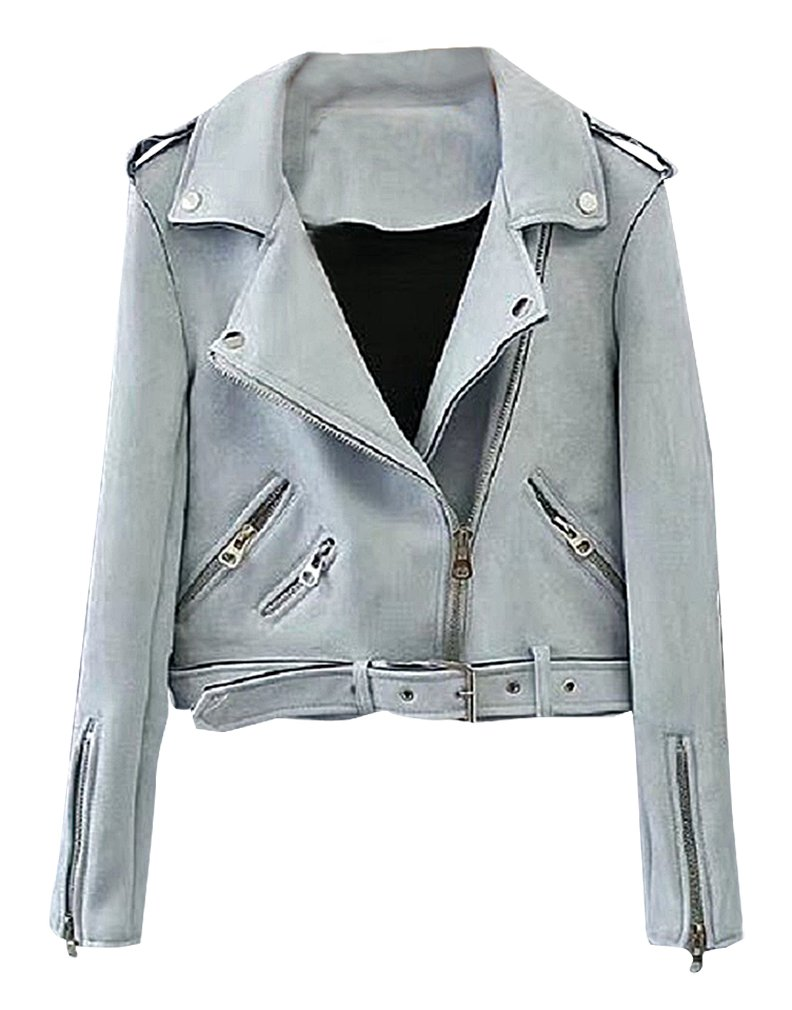 BLady Women's Turndown Collar Diagonal Zippers Faux Leather Suede Moto Jacket, SkyBlue XXS,Manufacturer(S) by BLady