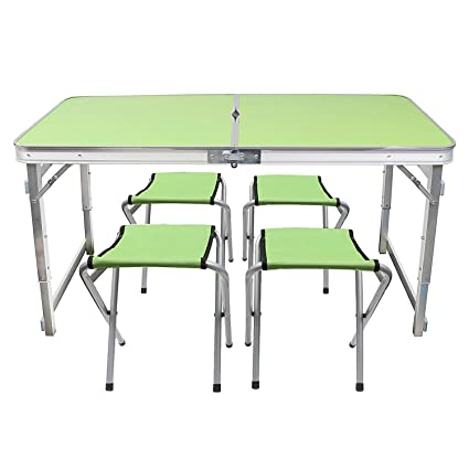 Incredible Livzing Multipurpose Adjustable Height Folding Camping Table With 4 Chairs Portable Aluminium Set For Picnic Hiking Download Free Architecture Designs Scobabritishbridgeorg