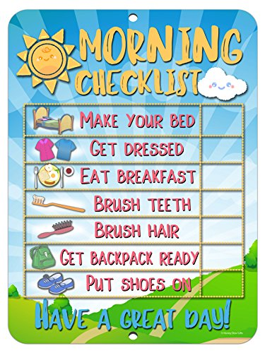 Morning Checklist Routine Reward Chart for Toddlers and Autism - Metal Tin Sign for Durability and Easy Wall Hanging