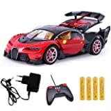 KIDSZONE Bugatti Style Remote Control Rechargeable Car with Opening Doors and Boot Space(Assorted, BG3)(red)
