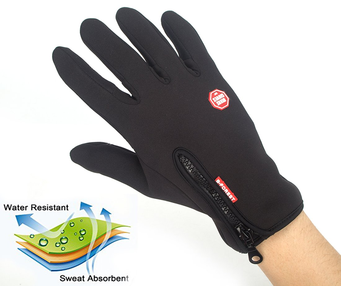 Hioffer Winter Gloves Touch Screen Warm Gloves Windproof Waterproof Cycling Driving Riding Bike Telefingers Thermal Gloves Non-slip Silicone Gel Adjustable Full Finger Mittens for Men and Women