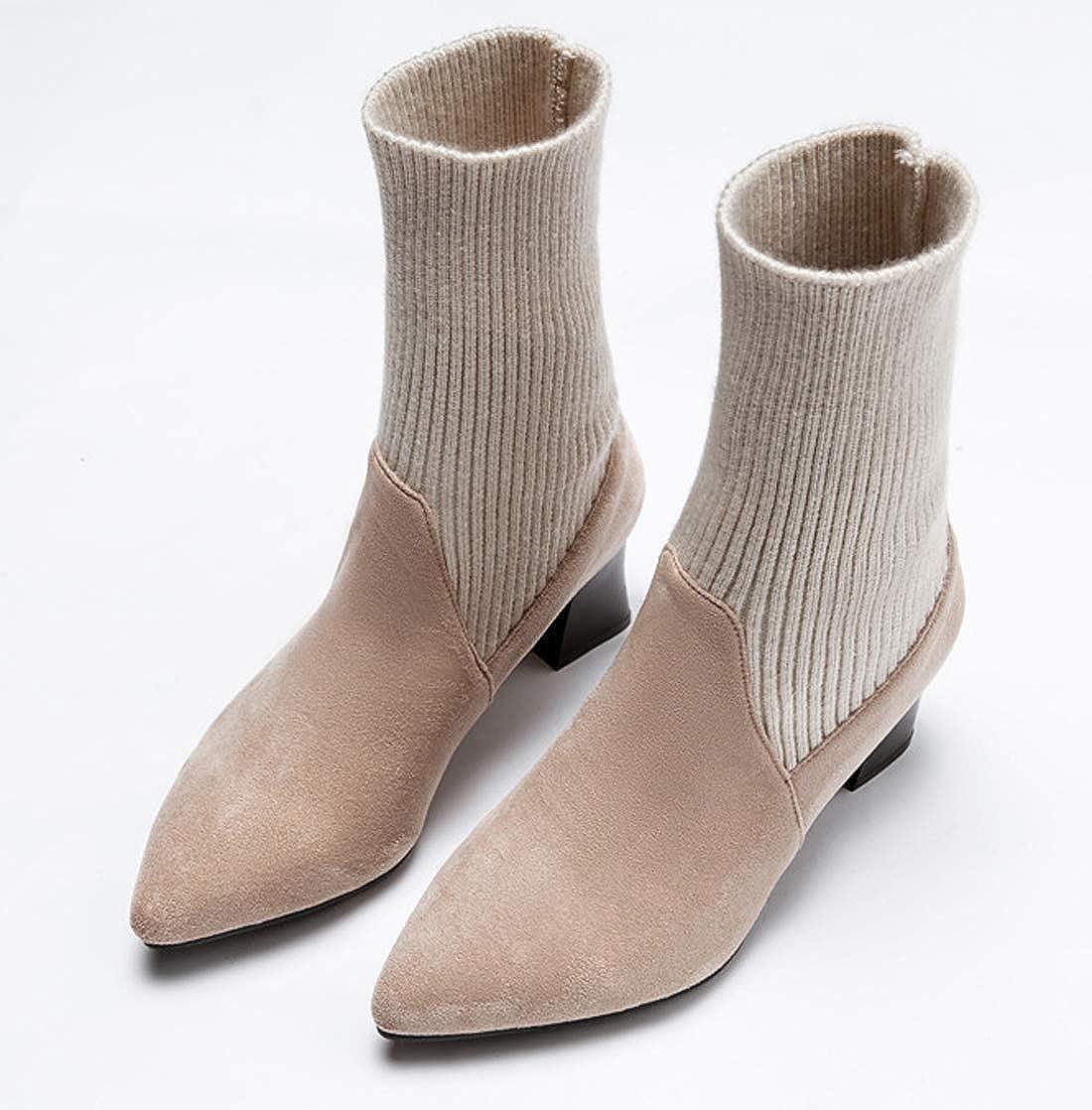 SERAPH SHOES Bottes Chaussettes En Maille Noir Noir Maille Femme Bottines À Talons Carré Haut Chaussures BootsB07K5FBR5YParent 50e1e9