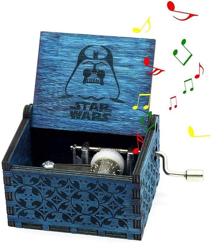 Teepao - Caja de música de madera tallada a mano con manivela ...