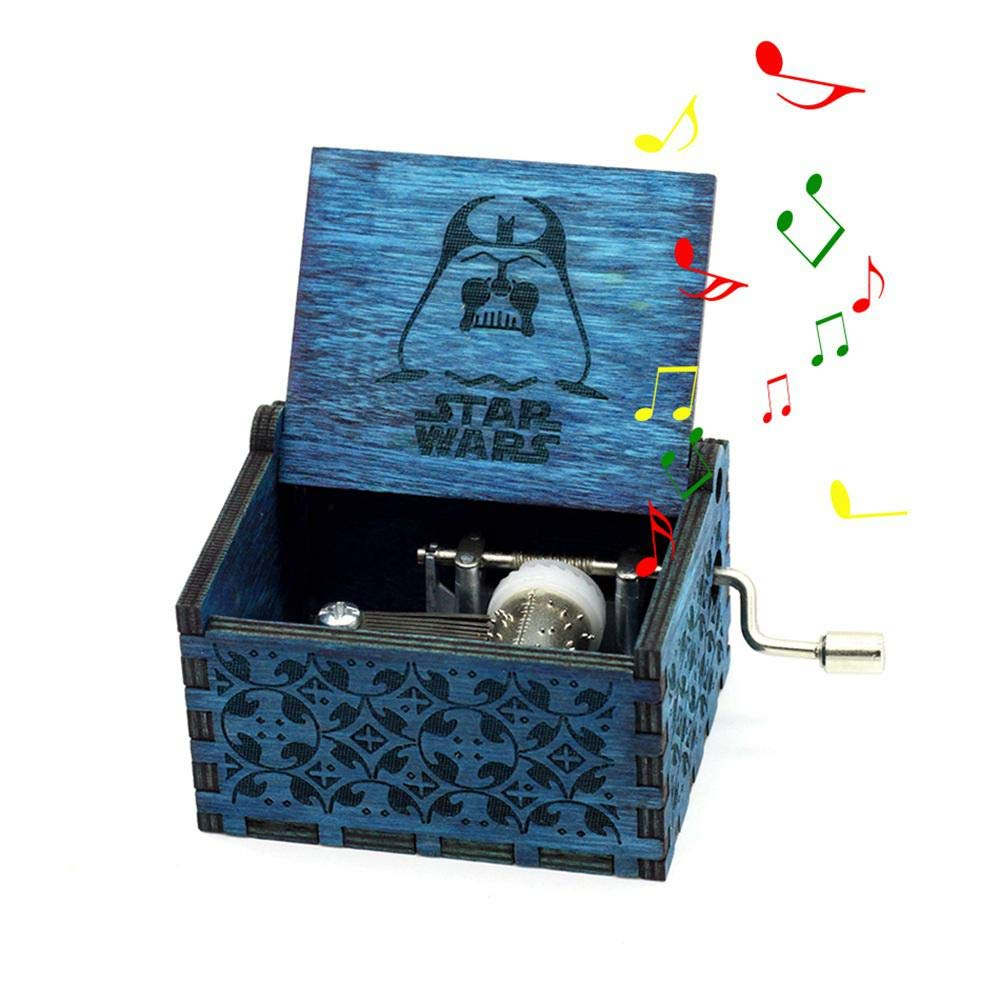 LEEGOAL Hand Crank Antique Carved Wooden Musical Boxes Best Gift for Birthday Christmas Star Wars Wood Muisc Box