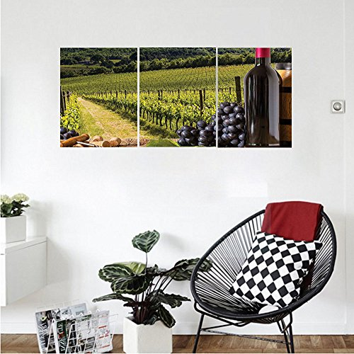Liguo88 Custom canvas Winery Decor Red Wine Bottles With Grapes On Timber Board And Tuscany Italian Terrace Scenery Bedroom Living Room Decor Green Blue Brown - Lexan Bottle Cool