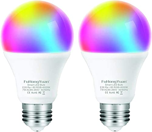FUHONGYUAN WiFi Smart Light Bulb, A19 E26 RGBCW Color Changing, Dimmable Multicolored Lights, No Hub Required, Compatible with Amazon Alexa and Google Home 2 Pack