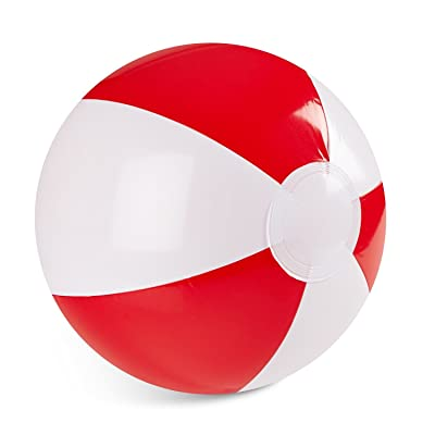 "Inflatable 12"" Inch Red and White Color 1 Dozen Beach Balls (12 Pack): Toys & Games"