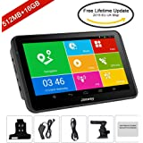 SAT NAV GPS Navigation System, Jimwey 7 Inch Android 16GB 512MB Capacitive IPS Touch Screen Car Truck Lorry Satellite Navigator Device with Post Code Search Speed Camera Alerts, Include Pre-installed UK and EU Latest 2018 Maps with Lifetime Free Updates (7 inch YF)