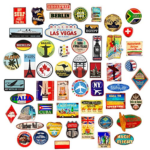 (Wall4Stickers® Luggage Stickers Suitcase 54x Patches Vintage Travel Labels Retro Vintage Graffiti iPhone car stickerbomb Style Vinyl Decals Door Skateboard Cafe)