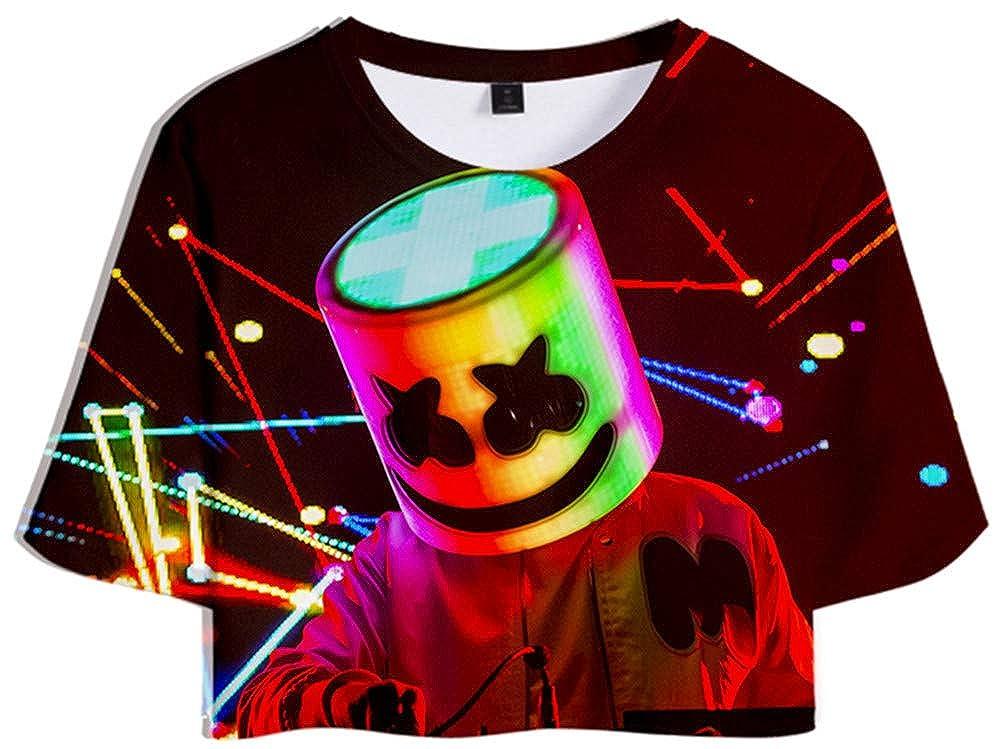 Imbry Donna DJ Marshmello Fans Navel T-Shirt /& Pantaloncini Tute Casual Sportivo Top e Pantaloni Cool