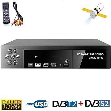 Ashey TDT HD Set Top Box Receptor Digital Inteligente Receptor de satélite de TV para los Canales DVB-T2 + DVB-S2 TLC 1080P decodificador MPEG4 Sintonizador de Enchufe de la UE sintonizador: Amazon.es: