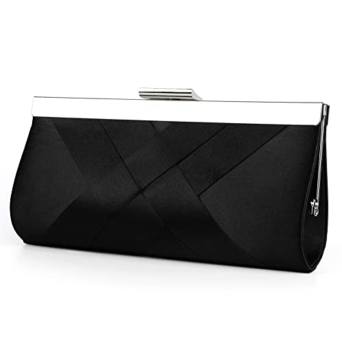 e8b526c6e4 Bidear Satin Evening Bag Clutch, Party Purse, Wedding Handbag with Chain  Strap for Women