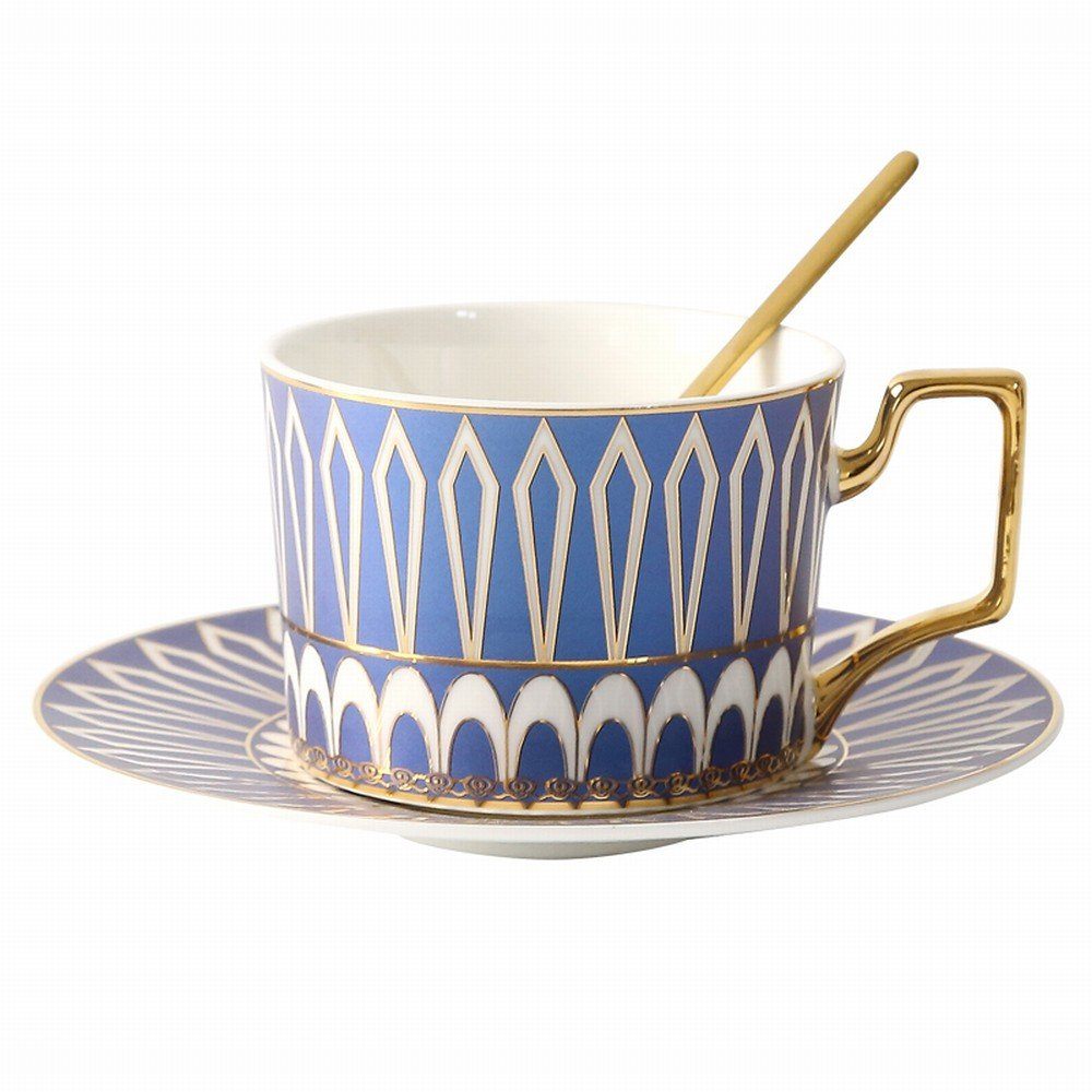 DHG Coffee Cup European Ceramics Coffee Cups and Saucers Set Spoon English Afternoon Tea Tea Sets Flower Cups Household,A