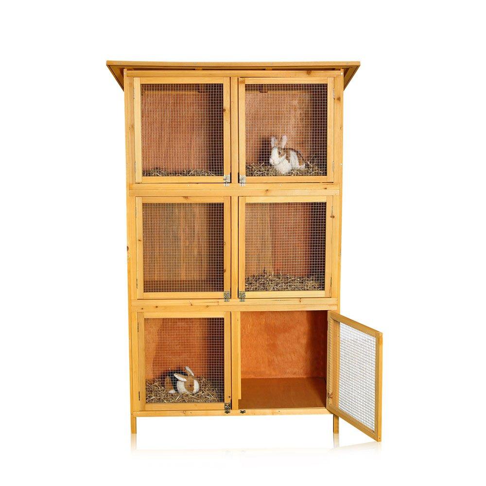 6 Boxen Hasenstall Kaninchenstall Kleintierstall Aufzucht Holz Kaninchenstall