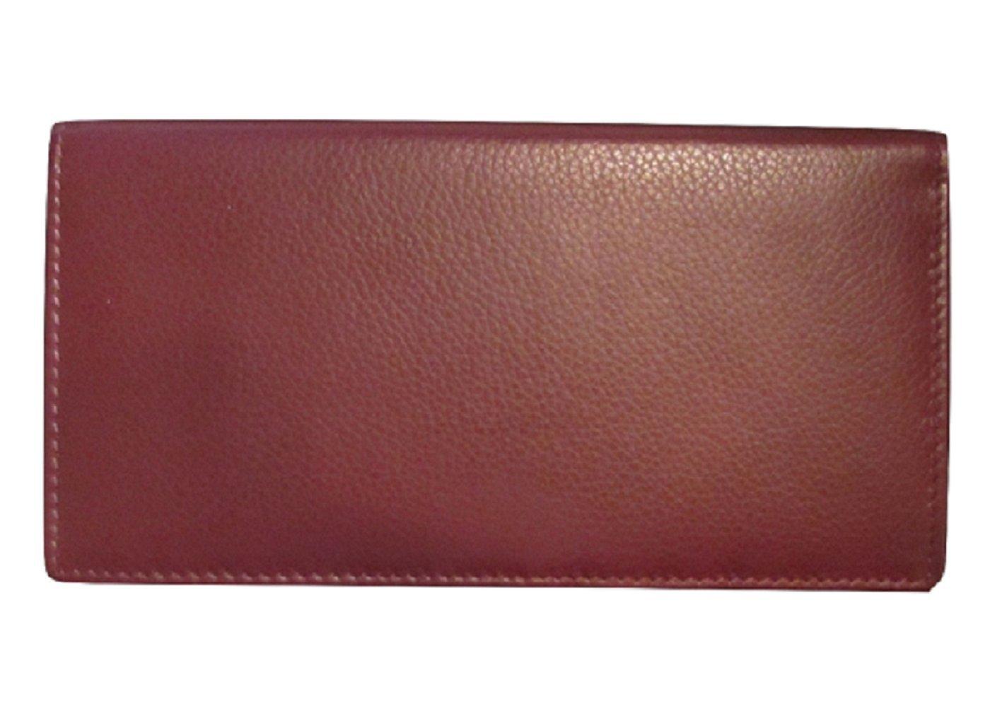 ili 7406 RFB Leather Checkbook with Pen Holder (Fine Wine)